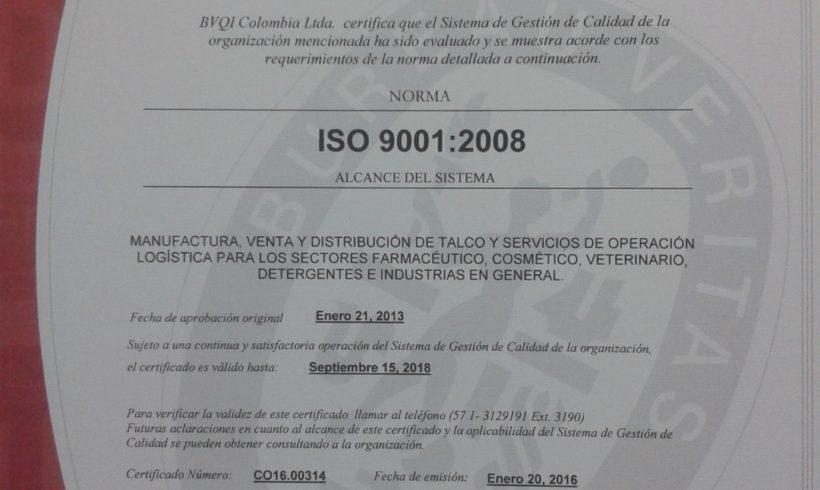 RECERTIFICACION EN ISO 9001:2008  A MERQUIMIA INTERNACIONAL